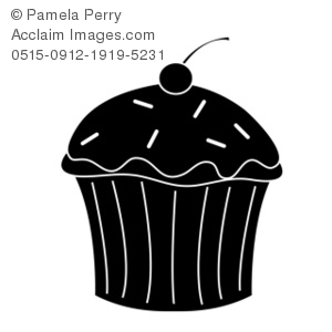 Clip Art Silhouette Of A Cupcake With A Cherry On Top