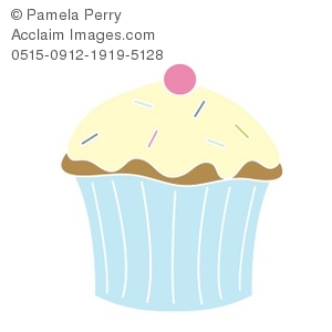 Clip Art Illustration Of A Vanilla Cupcake With A Cherry On Top