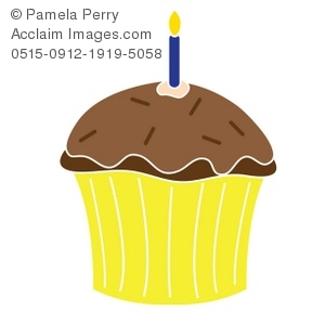 Clip Art Illustration Of A Chocolate Cupcake With A Burning Candle