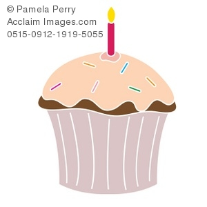 Clip Art Illustration Of A Chocolate Cupcake With Pink Frosting And A Burning Candle