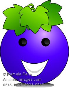 Illustration by Pamela Perry of a happy cartoon grape cartoon character