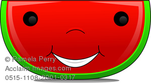 Clip Art Image Of A Cartoon Watermelon Slice With A Happy Face