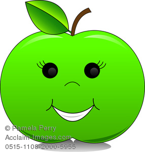 Clip Art Image Of A Happy Green Apple With A smiley Face