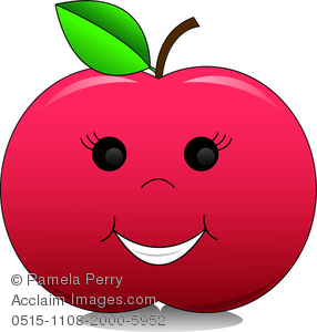 Clip Art Of A Red Apple With A Happy Face