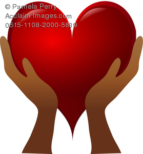 Clip Art Image Of A Pair Of Hands Holding a Red heart