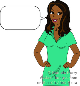 Clip Art Image Of An African American Woman speaking Into A Blank Text Bubble