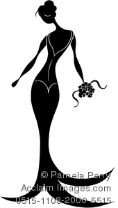 Silhouette Of An Elegant Bride Holding A bouquet