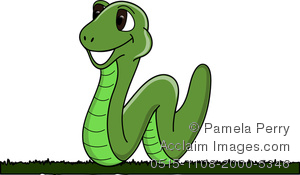 Clip Art Image Of A Happy Smiling Worm Moving Across The Grass