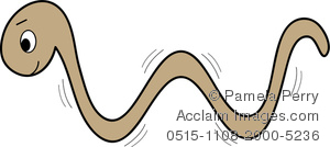 Clip art illustration of a brown worm