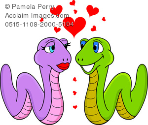 clip art illustration of two cute worms in love