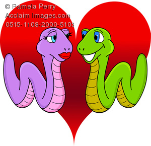clip art illustration of two worms in love on a red heart background