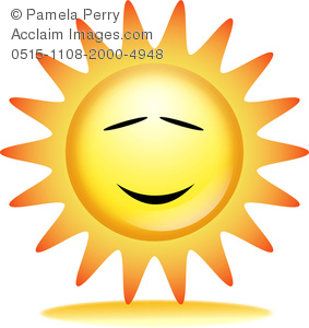 clip art illustration of a Sun shining brightly with eyes and a mouth