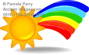 clip art illustration of a sun with a colorful rainbow