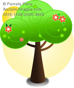 clip art illustration of a tree with pretty red flowers