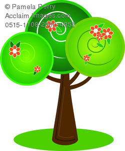 clip art illustration of a tree with blooming red flowers