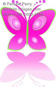 clip art illustration of a pink butterfly with green outline