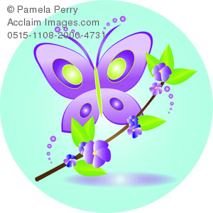 clip art image of a purple cartoon butterfly with green outlines and a branch with purple flowers and greenery