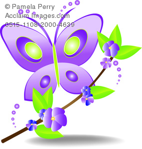 clip art cartoon of a purple and green buttterfly landing on a branch with purple flowers and green leaves