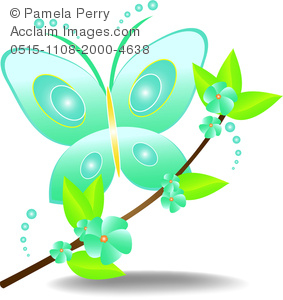 clip art cartoon of a bluegreen buttlerfly landing on a branch with bluegreen flowers and green leaves