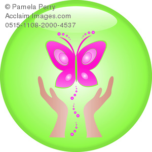 clip art image of a pair of hands setting free a pink butterfly on a green background