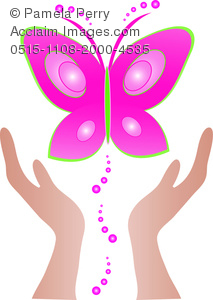 clip art image of a pair of hands freeing a pink butterfly