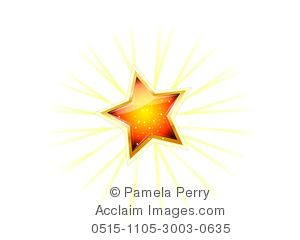 clip art image of a shining glittery golden star