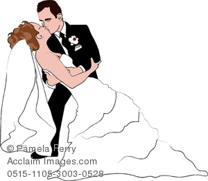clip art image of a bride and groom. The groom is kissing the bride