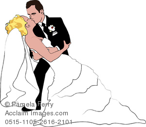 clip art image of a groom dipping his wife, and kissing her