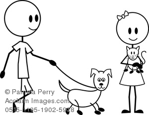 clip art of a man and woman stick figure walking their stick figure dog