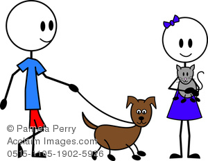clip art image of a female and male stick figures walking a dog. The female is holding a cat