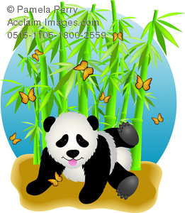 clip art illustration of a panda bear playing on the ground with butterflies and green stalks of bamboo