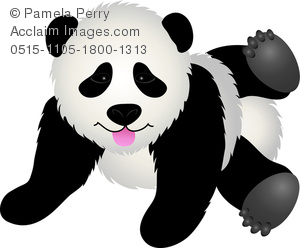 clip art image of a baby panda playing on the floor