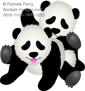 clip art image of two koala bears playing