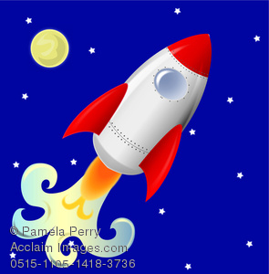clip art image of a rocket launching with a nighttime background