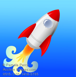 clip art illustration of a rocket taking off on a blue background in a vector clip art illustration
