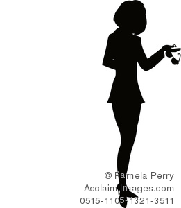 clip art silhouette of a woman wearing a suit holding a pair of glasses in her hand