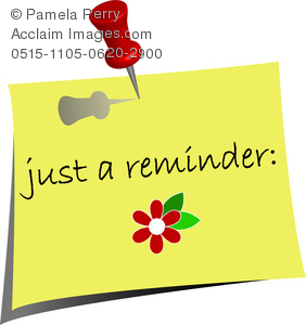 clip art image of a reminder note with a stick pin