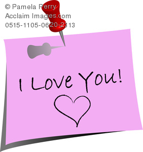 clip art image of a note that says i love you with a heart