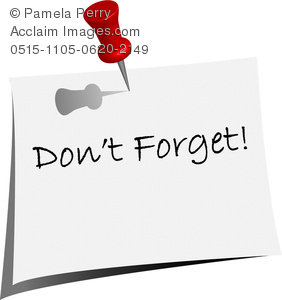clip art image of a post it note that says don't forget