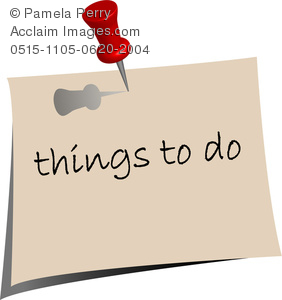 clip art image of a post it note that says things to do