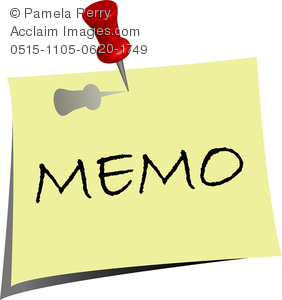clip art image of a note pad that says memo with a push pin through it
