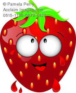 clip art image of a ripe strawberry with a happy face