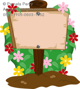 clip art illustration of a  wooden garden sign in the dirt with a flowery bush behind it
