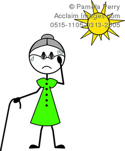 clip art illustration of an elderly woman with a cane sweating under a hot sun