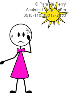 clip art illustration of a young girl sweating under the hot sun