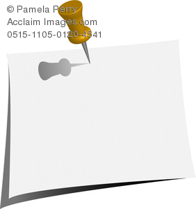 clip art image of a push pin stuck in a piece of paper