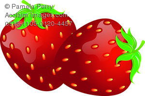 clip art image of fresh strawberries with a stem