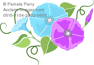 clip art illustration of  blue and purple flowers on the vine