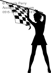 clip art silhouette of a sexy woman holding a black and white checkered flag in the air