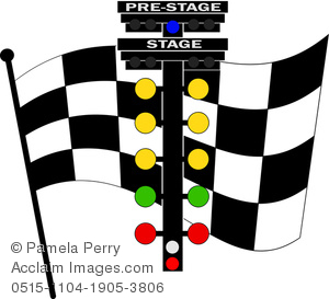 clip art illustration of a checkered flag with a set of stage lights